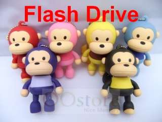 Colors Cute Standing Monkey USB Pen Flash Memory Drive Disk Stick