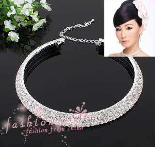 Stylish Three Rows Full Clear Rhinestone Bride Wedding Jewelry