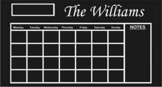 Custom Family Name Chalkboard CalendarDecal Sticker