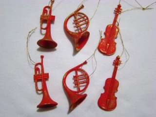 SET/12 RED MUSICAL INSTRUMENT CHRISTMAS ORNAMENTS