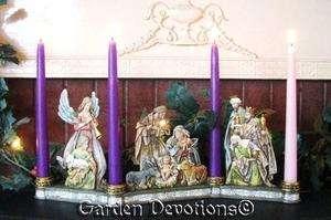 Exquisite ADVENT WREATH CHRISTMAS CANDLE HOLDER Nativity Set Scene