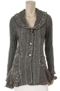 Women Flora Paris Ruffle Cardigan Sweater Long Sleeves Button Front. S