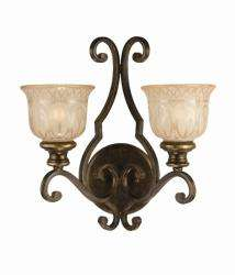 Bronze Umber Amber Glass Shade 2 light Wall Sconce