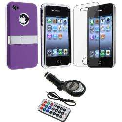 Purple Case/ Screen Protector/ FM Transmitter for Apple iPhone 4S