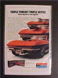 CORVETTE CAR PLASTIC TOY MODEL KIT PRINT AD~ ORIGINAL VINTAGE RARE