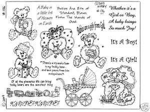 Unmounted Rubber Stamps Babies and Teddy Bears 136