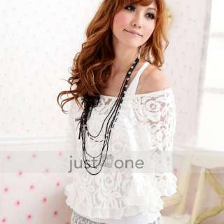 Women Ladies Lace Top Sexy Off Shoulder T Shirt Tank 2 Pieces Kit
