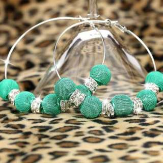 BK84 HOT Basketball Wives Circle Hoops Earring Fashion Jewelry Beads