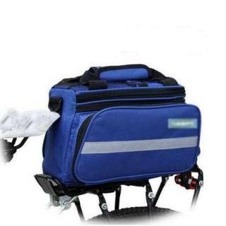 Blue Cycling Bike Travel Bicycle Rear Seat Pannier shoulder Bag Pouch