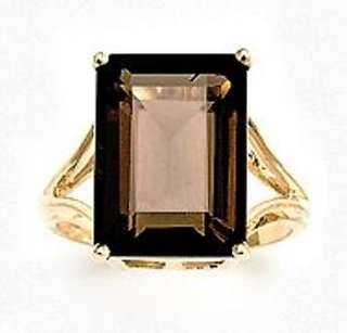 Smokey Quartz Ring, Emerald Cut   10K Gold   14x10mm