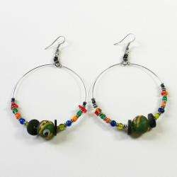 Sterling Silver Colorful Beaded Hoop Earrings (Kenya)