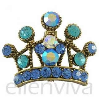 Bling 1.5in Crown Blue Rhinestones Pin Brooch Jewelry Vintage Gold