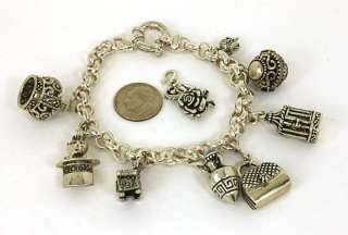 EXQUISITE SILVER MIXED GEMS CHARM BRACELET W/ 9 CHARMS