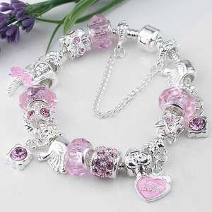Pink Silver Plated European Charms Bracelet Chain 7L