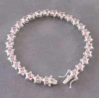 size cute green peridot cz star link 925 silver bracelet