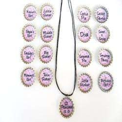 Bow Clippeez 2 Envy Light Pink Fun Sayings Bottle Cap Necklace