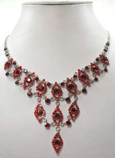 RUBY COLOR RED RHINESTONE CRYSTAL NECKLACE & EARRINGS SET C340