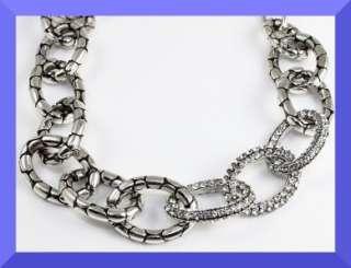Brighton Pebble Pave Crystal Silver Necklace NWT $110
