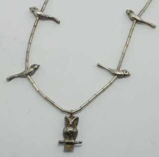 Southwest 24 Long Sterling Silver Owl & Bird Beaded Necklace