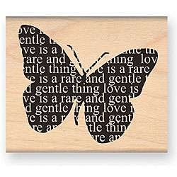 My Sentiments Exactly Love Butterfly Wood mounted Rubber Stamp