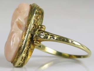 14K Gold Hand Carved Pink Coral Cameo Ring 5.9g   Size 9