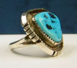 signed LF NA Sterling Silver Turquoise RING Southwestern BOLD vintage