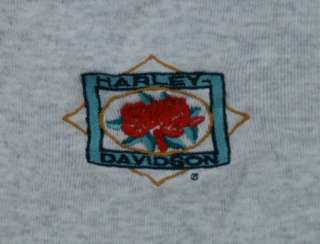 Harley Davidson Ladies Tank Top L Gray Red Roses Louisville KY Large