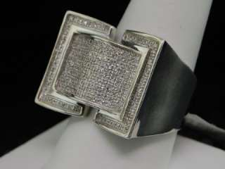 MENS WHITE GOLD FINISH WHITE DIAMOND PINKY RING PAVE