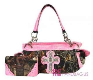 Rare~ Mossy Oak Camo Rhinestone Cross Camouflage Tote Purse Bag Wallet