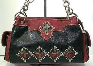COUNTRY ROAD WESTERN COWGIRL BLACK RED RHINESTONE CROSS PURSE HANDBAG