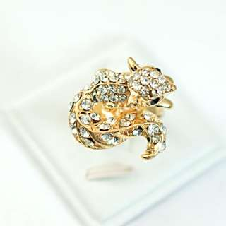 Wedding White squirrel 18K Gold plate Diamante Adjustable Ring Top