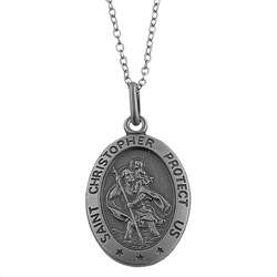 Oxidized Sterling Silver Saint Christopher Medal Necklace  Overstock