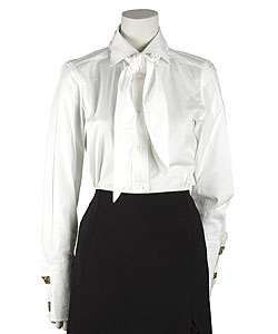 Dolce & Gabbana White Cotton Neck Tie Blouse