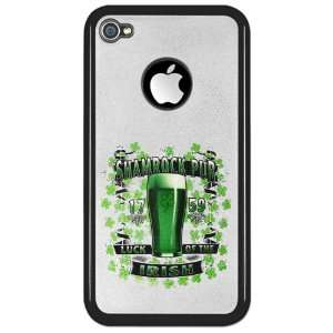 iPhone 4 or 4S Clear Case Black Shamrock Pub Luck of the Irish 1759 St