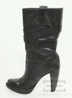 Kors Black Leather Strap Detail Platform Lisa Boots Size 7.5M