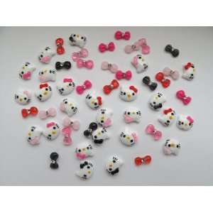 Nail Art 3d 40 Pieces Mix Hello Kitty/Bow /Rhinestone for