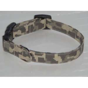 Green Brown Tan Digital Camouflage Camo Dog Collar Medium