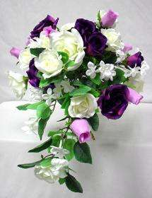 PURPLE CREAM Silk Rose Wedding Cascading Bridal Bouquet