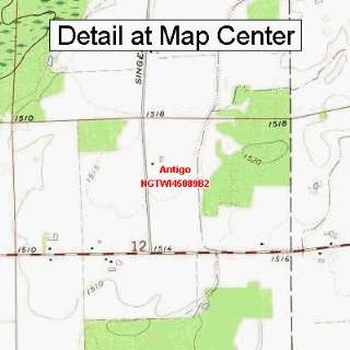 USGS Topographic Quadrangle Map   Antigo, Wisconsin (Folded/Waterproof