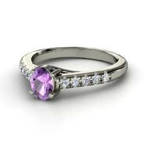 Ring, Oval Amethyst 14K White Gold Ring with Diamond Jewelry