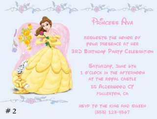 10 CUSTOM DISNEY PRINCESS BELLE INVITATIONS