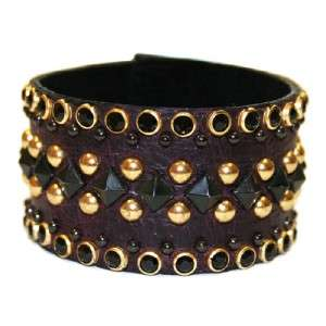 KIPPYS Dark Purple Leather Stud Crystal Cuff Bracelet
