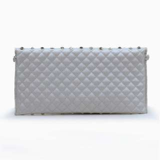 multi rhinestone studded quilted clutch/ evening bag   silver