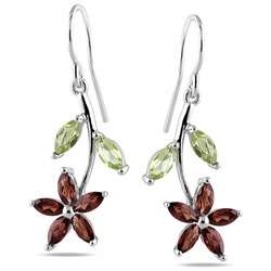Sterling Silver Multi gemstone Flower Earrings
