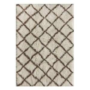 Plush Flokati Area Rug 7x9 Wool Ivory Brown Berber NEW