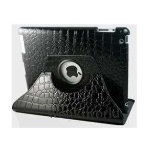 360º Rotating Stand Crocodile Pattern Leather Hard Case For iPad 2