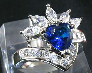 Day Love Heart Cut Blue Sapphire Jewelry Fashion Jewelry Ring Sz 8/Q