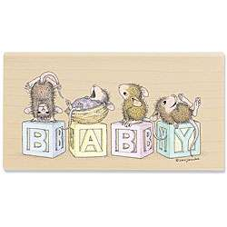 House Mouse Baby Blocks Wood mounted Rubber Stamp