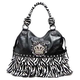Rhinestone Crown Ruffle Shoulder Bag Hobo Satchel Tote Purse Handbag
