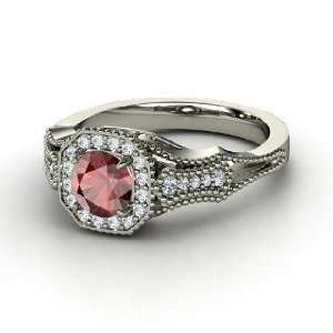 Ring, Round Red Garnet 14K White Gold Ring with Diamond Jewelry
